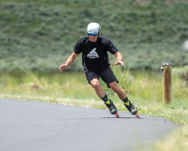 Skater going down a hill